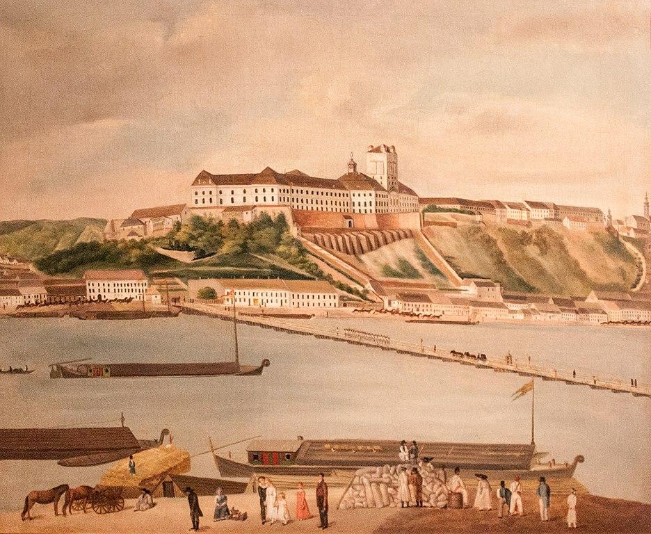 Colline de Buda derrière le Danube avec son chateau à Budapest en 1827.