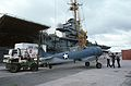 T-6 is lifted on USS Lexington (AVT-16) for filming of War and Remembrance in 1987.jpg