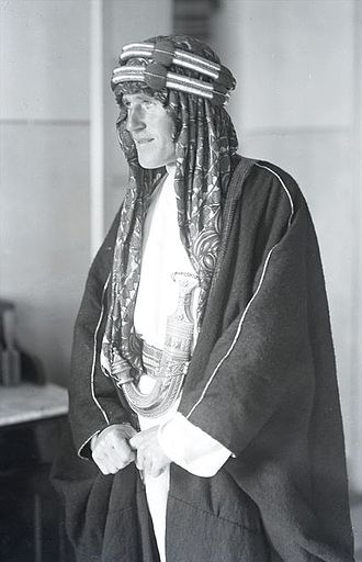 Lowell Thomas - Thomas' first photo of Lawrence taken in Jerusalem as they were introduced in the office of the Military Governor, February 28, 1918.