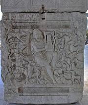 Orphée charmant les bêtes sauvages avec sa lyre, sarcophage du IIIesiècle av. J.-C., Musée archéologique de Thessalonique (Inv. 1246)
