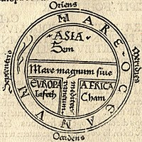 Medieval T and O map showing the three continents as domains of the sons of Noah - Sem (Shem), Iafeth (Japheth) and Cham (Ham)