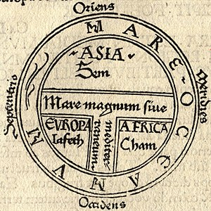 T and O map - This T and O map, from the first printed version of Isidore's Etymologiae, identifies the three known continents as populated by descendants of Sem (Shem), Iafeth (Japheth) and Cham (Ham).