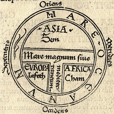 A medieval T and O map from 1472 showing the three continents as domains of the sons of Noah — Asia to Sem (Shem), Europe to Iafeth (Japheth), and Africa to Cham (Ham) T and O map Guntherus Ziner 1472.jpg