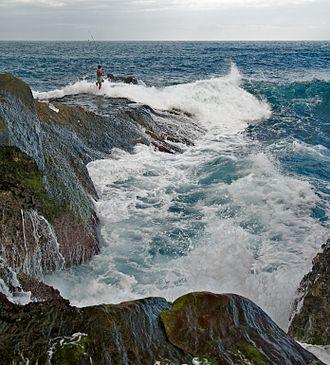 Rock fishing - Image: Taiwan 2009 East Coast Shih Ti Ping Giant Stone Steps Giant Waves Fishing FRD 6639