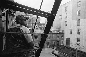 Talib Kweli - on fire escape behind Rawkus Records NYC 1999