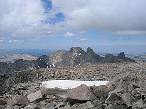 Black Tooth Mountain - Black Tooth Mountain, as viewed from the summit of Cloud Peak. Mount Woolsey is to the immediate right of Black Tooth Mountain.