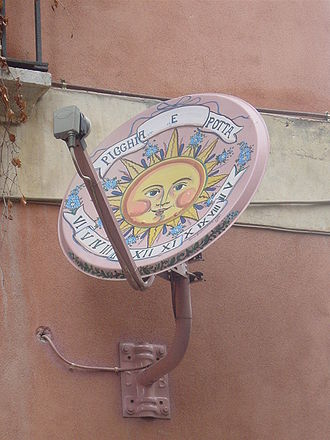 Satellite television by region - Artistic parabolic antenna in Taormina, Sicily.
