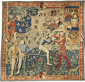 Field of the Cloth of Gold - Wrestling at the Field of the Cloth of Gold (Tapestry, c. 1520)