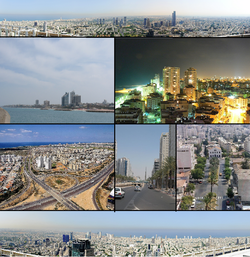 From top left: Tel Aviv, Herzliya, Bat Yam, Netanya, Ashdod, Rishon Letzion, Southern Suburbs of Tel Aviv.