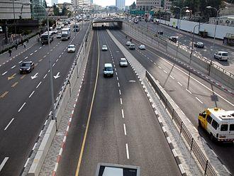 Begin Road - Looking south from HaKirya pedestrian bridge
