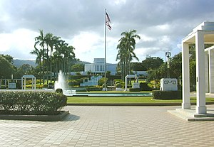 Laie Hawaii Temple - Looking up towards the temple from the reflecting pool and Visitors' Center