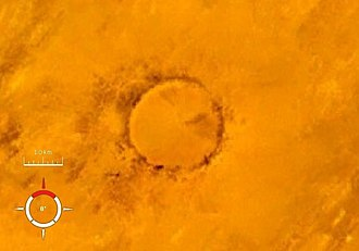Tenoumer crater - Landsat image of the Tenoumer crater; screen capture from NASA World Wind