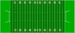 American football field, 100 by 53 1⁄3 yards (91.44 by 48.77 m)