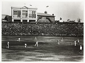 English cricket team in Australia in 1924–25 - JW Hearne and FE Woolley batting, at 4–78 in England's first innings of the Fifth Test at Sydney, chasing Australia's 295 all out.