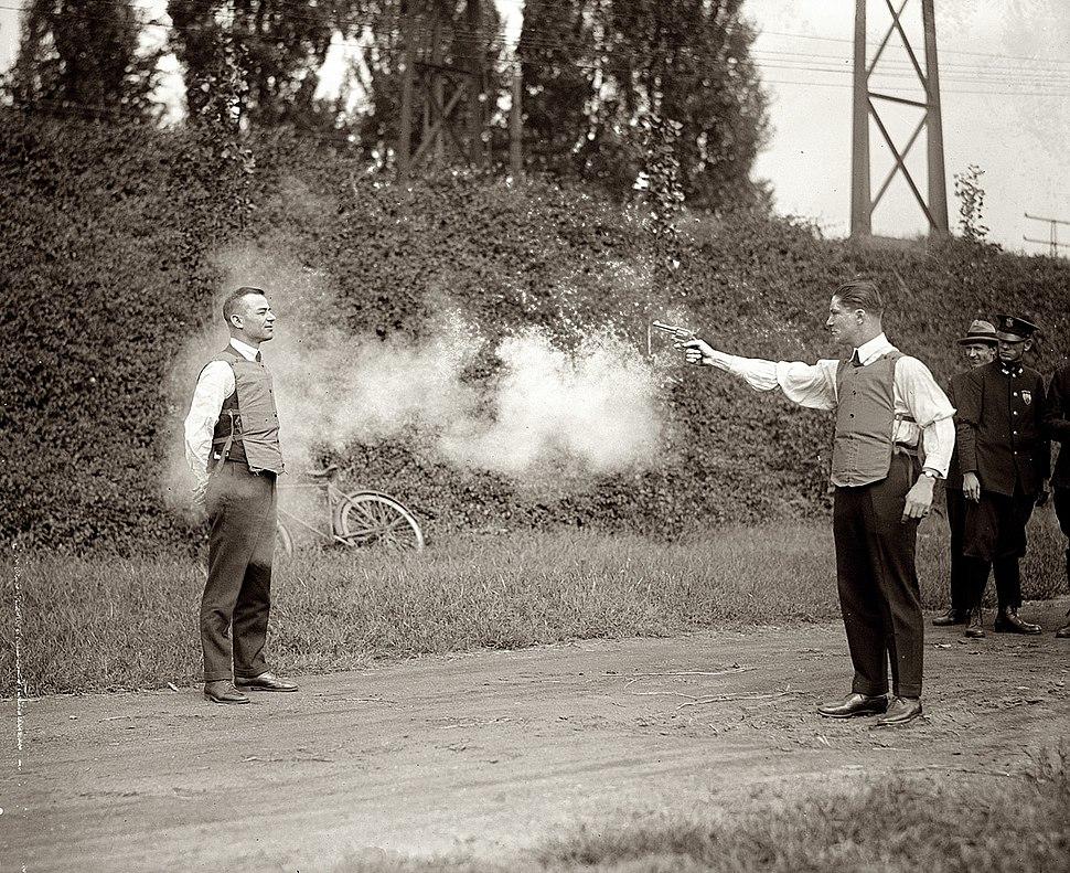 Testing bulletproof vest 1923