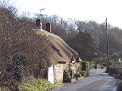 Thatched Cottage and Maypole - geograph.org.uk - 314401.jpg