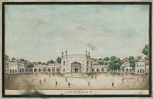 Ghantaghar - Jahanara Begum's caravanserai that formed the original Chandni Chowk, from Sir Thomas Theophilus Metcalf's 1843 album