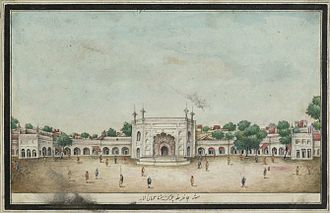 Chandni Chowk - Jahanara Begum's caravanserai that formed the original Chandni Chowk, from Sir Thomas Theophilus Metcalf's 1843 album.