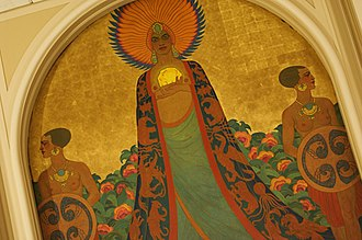 Maynard Dixon - Dixon contributed to the murals which adorn a banquet hall at the Mark Hopkins Hotel. Here, Queen Califia is shown accompanied by two of her woman warriors