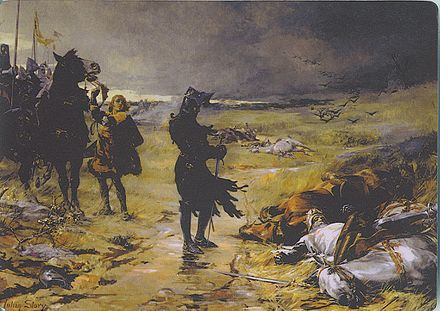 The Black Prince at Crecy paying respects to fallen John of Bohemia The Black Prince of Crecy.jpg