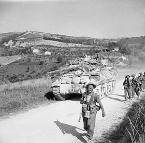 Gothic Line - A British M10 tank destroyer Self Propelled Gun (SPG) and infantrymen of the 5th Battalion, Sherwood Foresters during the advance to the Gothic Line, 27–28 August 1944.