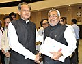 The Chief Minister of Bihar, Shri Nitish Kumar with the Chief Minister of Rajasthan, Shri Ashok Gehlot at the Chief Ministers' Conference on Internal Security, in New Delhi on April 16, 2012.jpg