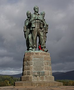 Stone statue of three Second World War Commandos in the Scottish Highlands