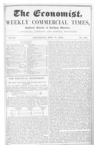 The Economist - Front page of The Economist on 16 May 1846