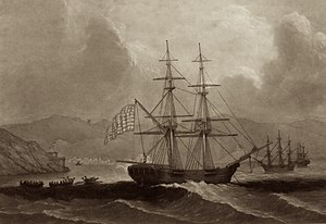 Battle of Turtle Gut Inlet - Brigantine Nancy at St. Thomas, engraving by John Sartain