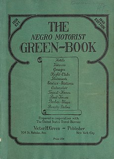 <i>The Negro Motorist Green Book</i> annual guidebook for African-American roadtrippers, published 1936-1966