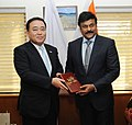 The Senior Vice-Minister of Tourism, Japan, Mr. Hiroshi Kajiyama calls on the Minister of State (Independent Charge) for Tourism, Dr. K. Chiranjeevi, in New Delhi on February 12, 2013.jpg