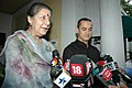 The Union Minister of Tourism and Culture, Smt. Ambika Soni and the Noted film actor, Shri Aamir Khan addressing a joint press conference, in New Delhi on August 08, 2008.jpg