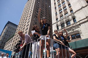 Timeline of women's sports in the United States - United States women's national soccer team players at the Ticker Tape Parade, New York City, July 10, 2015