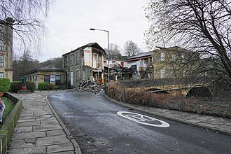 2015–16 Great Britain and Ireland floods - The Waterside, a public house in Summerseat that partially collapsed into the River Irwell on Boxing Day, photographed in the aftermath of the collapse