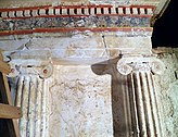 The facade of the the Tomb of the Palmettes, first half of the 3rd century BC, Ancient Mieza (7263705128).jpg