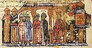 Olga, ruler of Kievan Rus', along with her escort in Constantinople (Madrid Skylitzes, Biblioteca Nacional de España, Madrid)