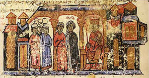 Sviatoslav I of Kiev - Svjatoslav's mother, Olga, with her escort in Constantinople, a miniature from the late 11th century chronicle of John Skylitzes.