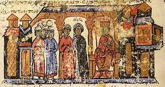 The mother of the Russian sovereign Svjatoslav, Olga along with her escort from the Chronicle of John Skylitzes