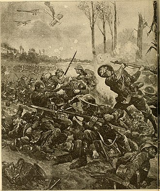 Second Battle of Ypres - Facing obstructions on their way to closing the gap created by the gas attack, the Canadian 10th Batallion executed an impromptu bayonet charge at Kitcheners' Wood.
