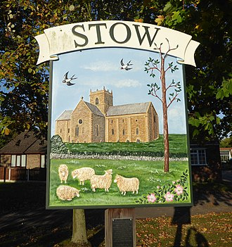 Stow, Lincolnshire - Image: The village sign at Stow (geograph 5932300 cropped)