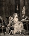 The woman is listening to her lover who is down on one knee. Wellcome V0039027.jpg