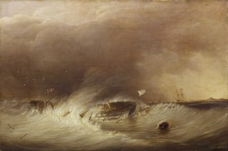 The wreck of HMS Hero in the Texel, 25 December 1811
