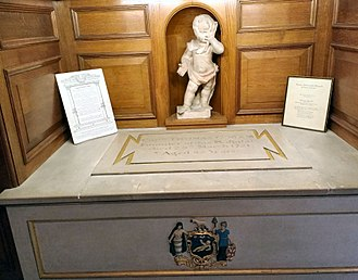 Thomas Coram - Thomas Coram's memorial in St Andrew's Holborn; his remains were transferred here in the 1950s