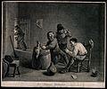 Three Dutch men drink and smoke round a barrel-table, behind Wellcome V0019044.jpg