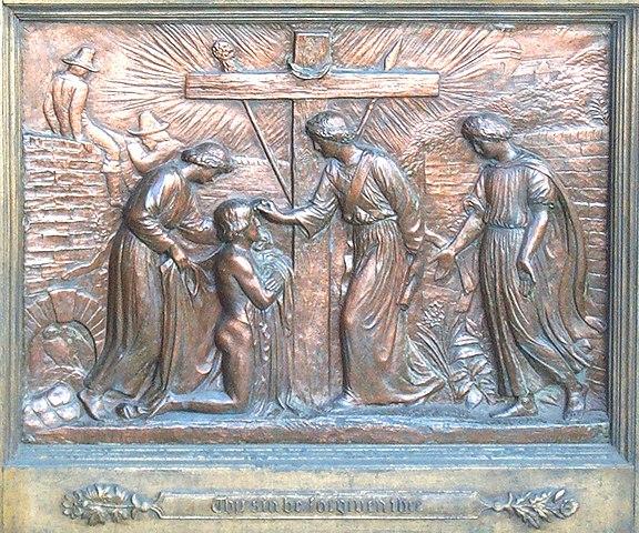 용서받는 크리스천과 그 뒤에서 담을 넘고 있는 위선(Hypocrisy)과 형식주의자(Formalist)의 모습