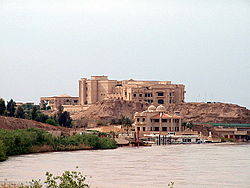 Looking north along the Tigris towards Saddam's Presidential palace in April 2003