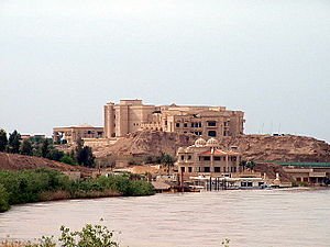 Tikrit - Looking north along the Tigris towards Saddam Hussein's Presidential palace in April 2003