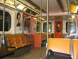 Inside of an H6 subway car.
