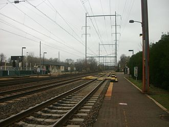 Trenton Line (SEPTA) - The utilitarian Torresdale station (seen in 2012) is typical of the Trenton Line