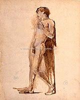 Toulouse-Lautrec - HOMME ADOSSE CONTRE UN MUR, vers 1882,1883, MTL.95.jpg